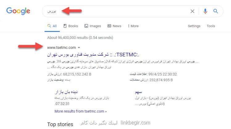 رتبه بورس ایران در گوگل - لینک بگیر